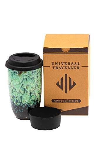 UNIVERSAL TRAVELLER Ceramic Coffee Travel Mug with Silicon Lid and Sleeve -16oz (470ml), Large....