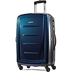 top 10 hard luggage brands Samsonite Winfield 2 Expandable rigid suitcase with swivel wheels, navy blue, large check …