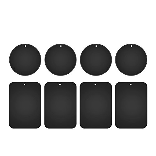 Metal Plates for Magnetic Car Mount,Nekteck Replacement Metal Plates with Strong Adhesive for Magnetic Air Vent Phone Car Mount Holder,GPS Holder, 4 Rectangulars and 4 Rounds, 8 Pack, Black