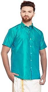 SJS-Men's Half Sleeve Solid Art Silk Shirt (Aqua, 36)