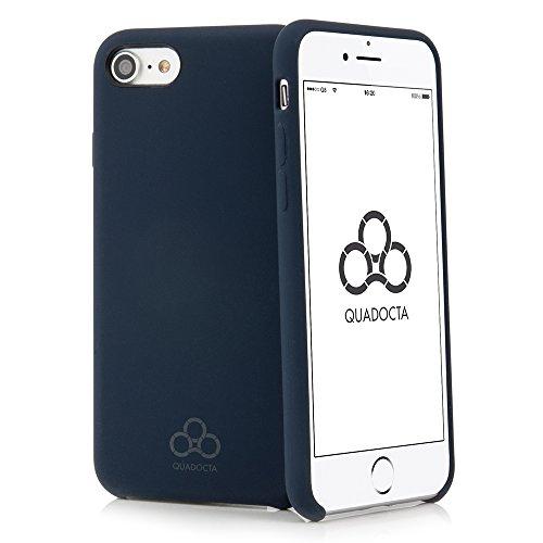 QUADOCTA - Custodia in silicone per iPhone 8, iPhone 7 (4,7'), Thin Fit Case Silex, con rivestimento morbido al tatto, colore: Blu navy (compatibile con Qi)