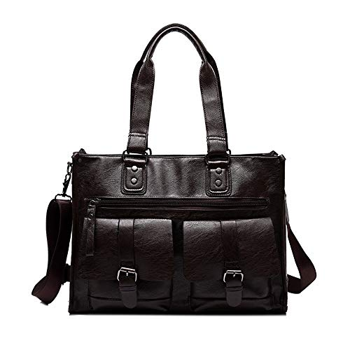 Briefcases, Big Travel Bags, Men's Bags, Multi-functional Shoulder Messenger Bags, Handbags, Sports Outdoor Bags, Retro Style, Beef Tendon Leather (Color : Brown)
