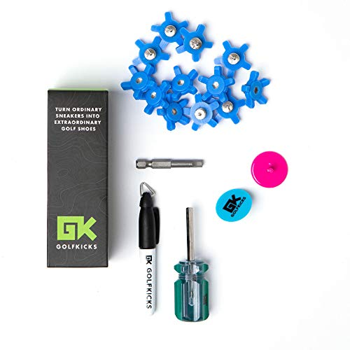 Golfkicks Golf Traction Kit for Sneakers with DIY Golf Spikes - Add Golf Cleats to Any Shoe, 20 Count - As Seen On Shark Tank Water (Blue)