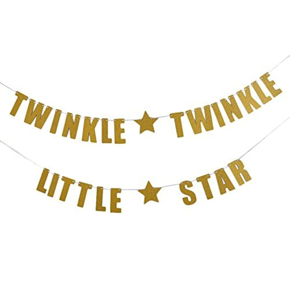 WANFOLDA TWINKLE TWINKLE LITTLE STAR Gold Silver Bunting Sparkly Glitter Letters Photo Backdrop Garland Baby Shower Party Decoration