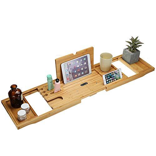 Bambú para Bañera Magnífica Bandeja de Bañera Extensible con Soporte para Copa de Vino y iPad reposa Libros, Tabla de Baño con Atril Libros, Extensible en 75-105cm