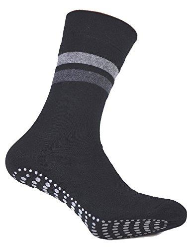 2er Pack Damen und Herren Socken mit ABS Noppen, ohne Gummi, Thermo Socken Frottee, Anti Rutsch Socke, Stoppersocken, schwarz, Gr. 35/38…
