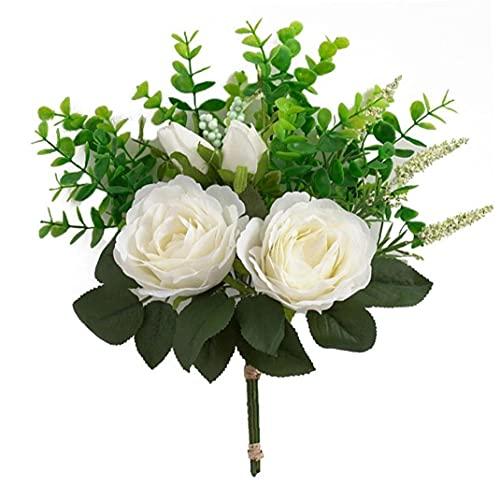 NIDONE Sztuczne kwiaty bukiet eukaliptusa liście z kwiatem piwonii sztuczny kwiat bukiet ślubny bukiet kwiatów aranżacje dekoracyjne do domu na wesele hotel biały