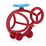 Nuby Chewy Chums All Silicone Soothing Teether, Helicopter- 3M+
