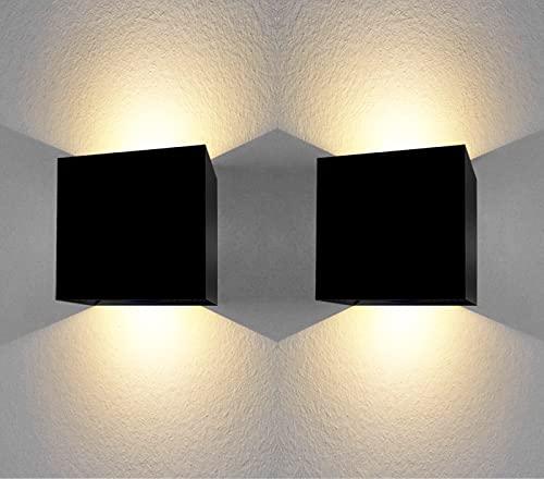 Aplique pared exterior 12W impermeable IP65 luz blanca calida 3000K lampara exterior pared apliques pared exterior luz exterior pared negro (2 Uds)