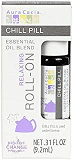 Aura Cacia Chill Pill Oil Roll-On | GC/MS Tested for Purity | 9.2 ml (0.31 fl. oz.)