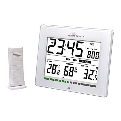 Monitor de calidad aeroespacial con reloj de cuarzo, estación de temperatura con indicador de calidad de aire ambiental + transmisor