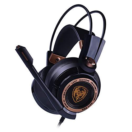 LHYXEJ Casque à Anneaux Anti-Bruit pour Casque de Jeu à Effet 7.1 pour Ordinateur, monté sur la tête, avec Fonction de Vibration, Serre-tête léger, Noir