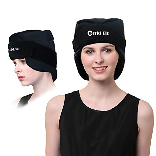 Headache and Migraine Gel Ice Hat by WORLD-BIO, Wearable Ice Cap with Reusable Cold and Hot Head Pack Pain Relief for Chemo, Sinus, Neck Tension - Freezable & Microwavable