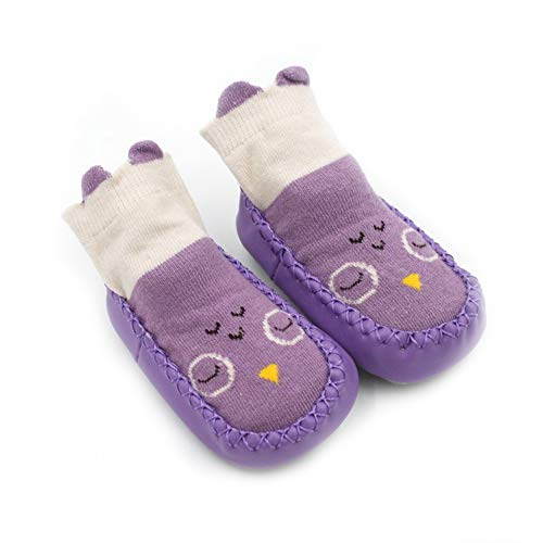 Unisex Kleinkind Baby Socken Schuhe, 2-in-1 Skid Socken Anti-Rutsch-Schuhe für 0-36Months Infant Boys Girls (Lila Eule, 0-6Monate)
