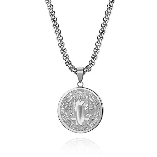 BANAMANA Joyería del Encanto de Acero Inoxidable Medalla de San Benito Collar con el Collar Pendiente de la Cadena de 22 Pulgadas a la Cruz céltica Collar Colgante Cruz para Unisex