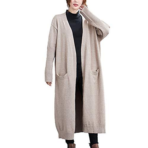 Damen Strickjacke Lange Ärmel Große Größe Lose Dünn Lange Stricken Sweatshirt Mantel