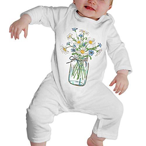 GLGFashion Unisex Daisy Flower in Glass Jar Newborn Baby 6-24 Months Baby Climbing Clothing Baby Long Sleeve Garment Black Combinaisons Body bébé Barboteuse