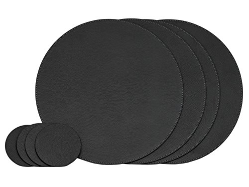 Nikalaz Set of Round 4 Placemats and 4 Coasters, Round Table Placemats, Place Mats 12.99 inches, Recycled Leather Placemats for Dining Table (Black)