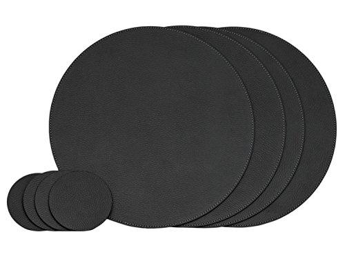 Nikalaz Lot de 4 Sets de Table et 4 Dessous-de-Verres, Ronds, 33 cm et 10 cm de diamètre respectivement, en Cuir Naturel Recyclé, Décor de Table (Orange)