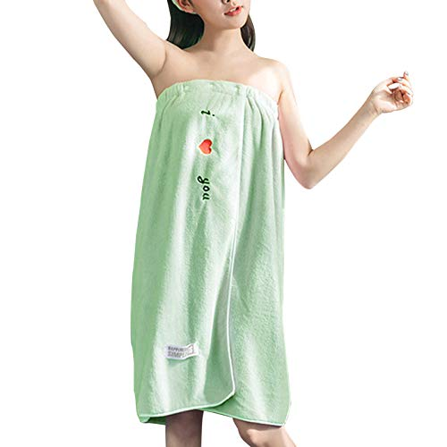 TSUBASI 着る バスタオル 大きいサイズ 大判 ラップタオル レディース サンゴフリース 吸水 速乾 巻きバスタオル 大人用 バスワンピース 着替え用 ずり落ちない お風呂上がり ジム 温泉用 プール エステ用 75*140cm(グリーン)