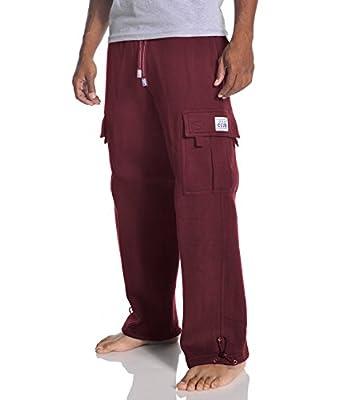 Pro Club Men's Heavyweight Fleece Cargo Pants, Medium, Maroon