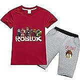 Baonmy Roblox - Traje de Manga Corta Unisex para niños, 2 Piezas, Ropa Deportiva Transpirable (Rojo, 11-12 años)