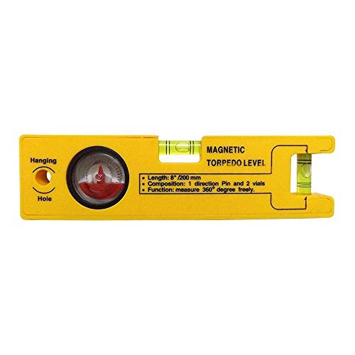 shikha Shop 8-inch Magnetic Torpedo Level with 1 Direction Pin, 2 Vials and 360 Degree View