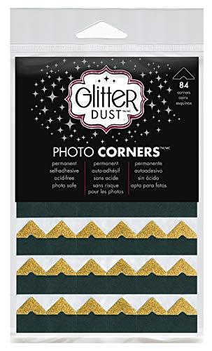 Therm O Web Glitter Dust Photo Corners, Gold