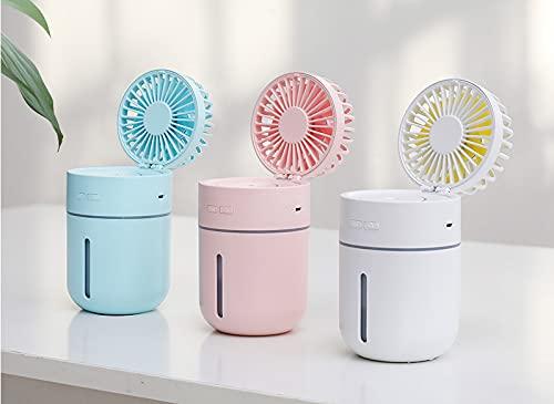 Multifunción Usb Spray Frío Humidificación Y Reposición De Agua Sacudiendo La Cabeza Ventilador Plegable Cielo azul
