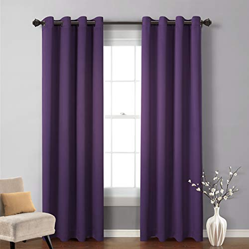 MYSKY HOME Blackout Curtain for Bedroom, Grommet Room Darkening Curtain, Amazing Triple Weave Thermal Insulated Curtain, 1 Curtain Panel ( 52 x 84 Inch, Royal Purple )