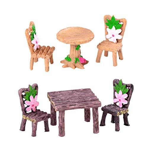 ADSE 4 Set Tiny Bench Set Mini sillas de Mesa Accesorio de casa de muñecas de jardín