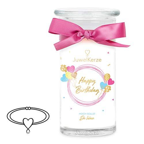 JuwelKerze 'Happy Birthday' (Armband) Schmuckkerze große weiß Duftkerze 925 Sterling Silber - Kerze mit Schmucküberraschung als Geschenk für sie/ihn
