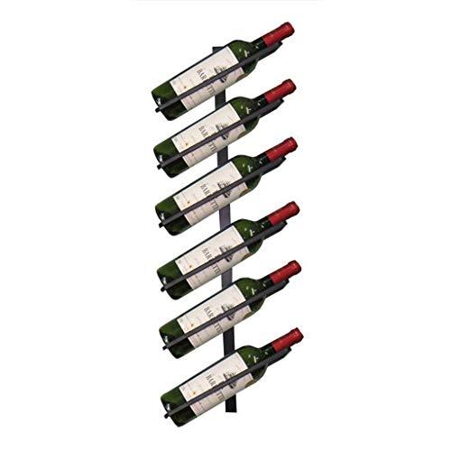 GDSKL Estante para vino Organizar cocina Iron Art Soporte para 6 botellas para vino Estantes para botellas de vino montados en la pared Estante de al1enamiento de vino de pared retro para bare