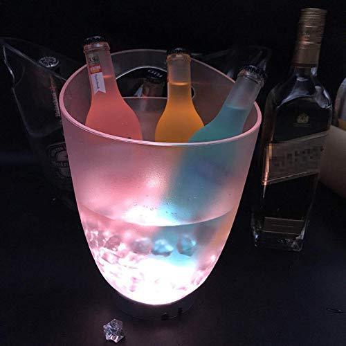 WYLX LED Ghiaccio Secchio Luminoso,Colorful LED Secchiello del Ghiaccio,Portaghiaccio Rotondo in Plastica A LED,per La Decorazione di Bar per Feste in Famiglia