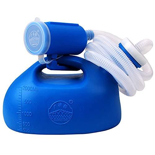 testyu Urinarios unisex, 2000ml Botella de Orina Portátil Orinal Unisex de Doble Propósito con Tapón Antiolor y Cepillo Limpio para Camping, Botella De Urinario Bedpan - Azul