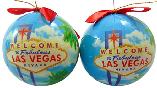 Las Vegas Ornament Bulb Christmas Decoration with Ribbon Gift Boxed, Set of 2
