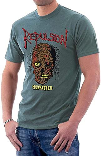 Repulsion Band Horrified Music Skull Logo Men's T-Shirt Summer Low-key-Gravel-Large