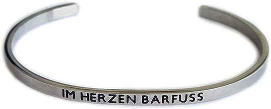 Elegante armband armband zilver of roségoud met mantra en spreuk - gravure in 2 maten. In hart barfuss