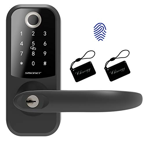 Smart Lock,SMONET Fingerprint Door Lock with Reversible Handle,Keyless Entry Bluetooth Lock ,Free APP,IC Card,Anti-peep Code,Work with Alexa (Need Extra Gateway),Smart Lever for Home,Office