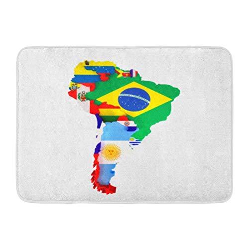 LINFENG Fußmatten Bunte lateinische Südamerika-Karte Länder und Hauptstädte kennzeichnen Amerikaner 23,6x15,7 Zoll