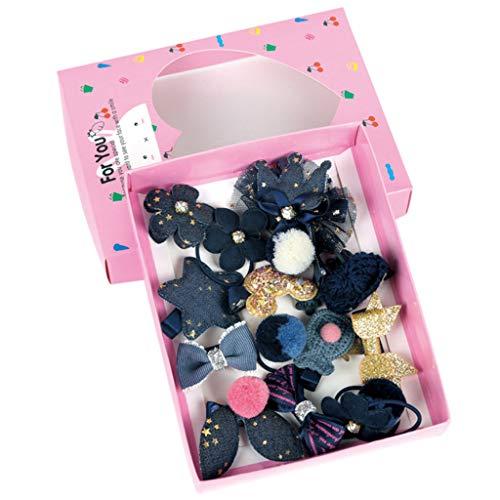 Baiyao 18 unids/set niños bebé niñas boutique accesorios para el cabello brillo lindo dibujos animados bowknot clips ponytail titular lazos princesa tocado con caja de regalo