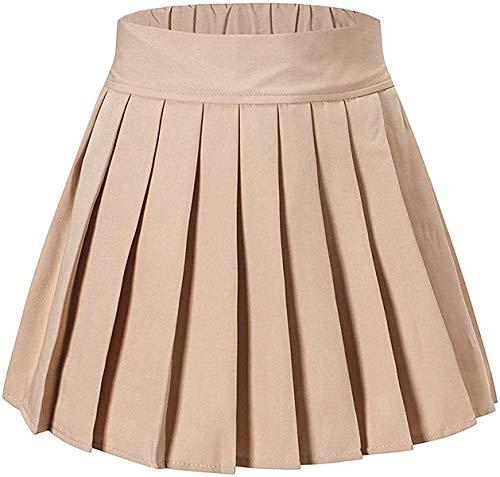 Junior Teen Girls Womens School Uniform Cosplay Costume Plaid Pleated Short Skirt, Khaki, Tag XL = US L