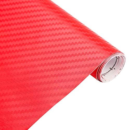 3D Fibra de carbono Vinilo Envoltura de automóviles Película Película Pegatinas y Calcomanías Accesorios de Accesorios de Estilismo de Coche de Motocicleta (Color Name : Red)