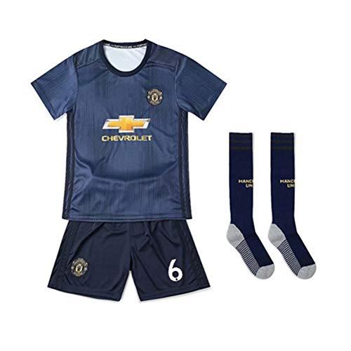 PAOFU-Kinder Und Jugendliche Man Utd Fußball Trikotset Manchester United 6# Fußball Trikots Mit Socke,Blau,26