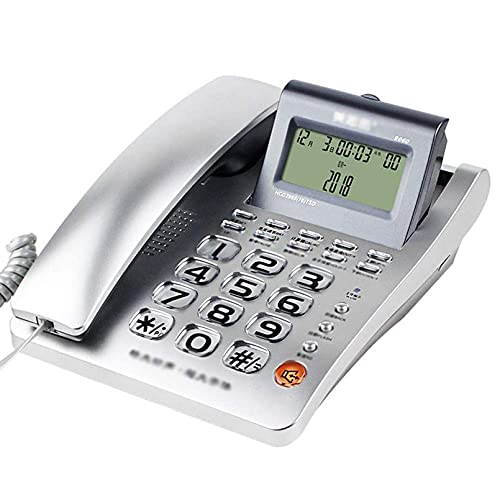 Pantalla de identificación de Llamadas con Cable Super Ringtone Teléfono Fijo Cuerpo de plástico Botón de Cristal para Personas Mayores Oficina Hogar Hotel Escritorio con botón Gran Llamada Caracter
