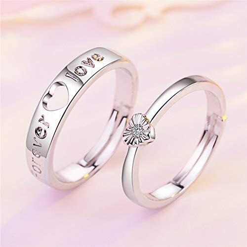 DLIAAN Ringen Vrouwen En Heren Open Ringen Verstelbare Koppels Bruiloft Diamanten Ringen Mode Glanzende Zirkoon Eeuwige Liefde Vleugels 12 Stijlen Verjaardag Geschenken, 2 Stks