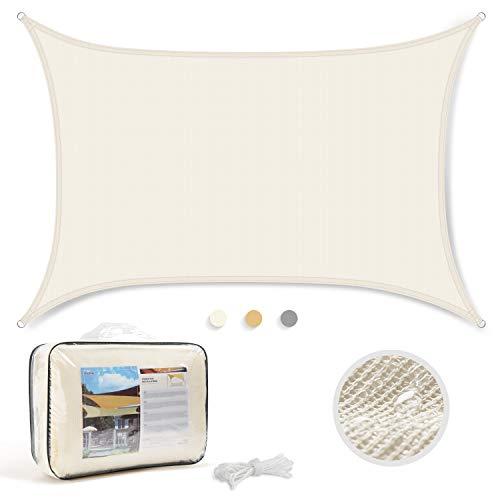 Levesolls Tenda a Vela Parasole Rettangolare 4×3m Telo da Sole Esterno Vela Ombreggiante in HDPE, Impermeabile/Antivento/Protezione UV, Crema