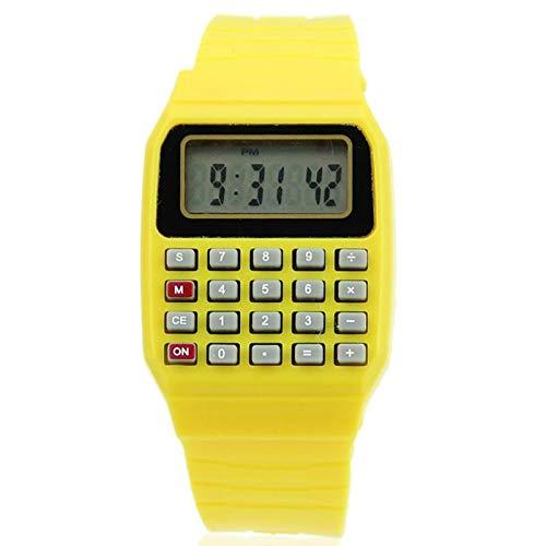XUSHI Mode kreative Kinder Silikon Datum Multifunktions-Kinder-elektronischer Rechner-Watch (Color : Yellow)