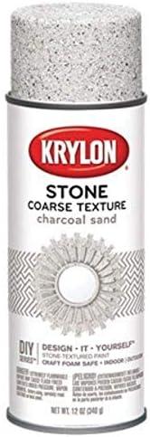 Krylon K18202 Coarse Stone Texture Finish Spray Paint, Charcoal Sand, 12 Ounce