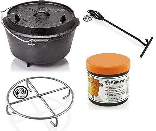 Petromax Feuertopf Starterset ft4.5 (Dutch Oven mit Standfüßen) inkl. Deckelheber + Pflegepaste + Untersetzer